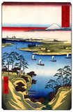 Thirty-six Views of Mount Fuji (Japanese: 富士三十六景; Fuji Sanjū-Rokkei) is the title of two series of woodblock prints by the Japanese ukiyo-e artist Andō Hiroshige, depicting Mount Fuji in differing seasons and weather conditions from a variety of different places and distances. The 1852 series are in landscape orientation; the 1858 series are in portrait orientation.<br/><br/>  Utagawa Hiroshige (歌川 広重, 1797 – October 12, 1858) was a Japanese ukiyo-e artist, and one of the last great artists in that tradition. He was also referred to as Andō Hiroshige (安藤 広重) (an irregular combination of family name and art name) and by the art name of Ichiyūsai Hiroshige (一幽斎廣重).